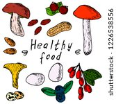 hand drawn set of healthy food. ... | Shutterstock .eps vector #1226538556