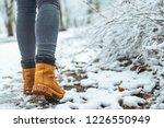 woman winter boots on snow... | Shutterstock . vector #1226550949