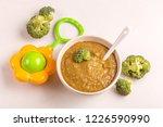 pureed broccoli baby food in... | Shutterstock . vector #1226590990