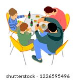 happy family eating and... | Shutterstock .eps vector #1226595496