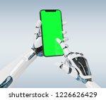 white robot hand holding modern ...   Shutterstock . vector #1226626429