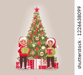 children and decorated... | Shutterstock .eps vector #1226638099