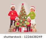 joyful family near the new year ... | Shutterstock .eps vector #1226638249