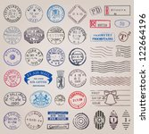 Vector set of 39 vintage postage stamps from countries all over the world