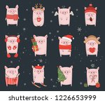 collection of cute winter pigs. ... | Shutterstock .eps vector #1226653999