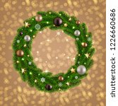 christmas card with wreath  | Shutterstock . vector #1226660686