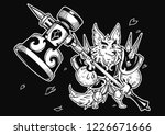 wolf and big hammer. vector... | Shutterstock .eps vector #1226671666
