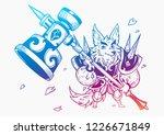 wolf and big hammer. vector... | Shutterstock .eps vector #1226671849