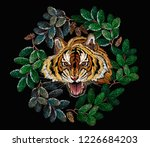 tiger head and christmas wreath ... | Shutterstock .eps vector #1226684203