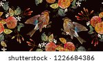 embroidery apples and birds... | Shutterstock .eps vector #1226684386