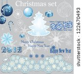 vector set  christmas... | Shutterstock .eps vector #122670493