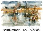 Autumn Landscape With Lake ...