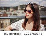 beautiful stylish young woman... | Shutterstock . vector #1226760346