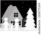 the family walks on a festive... | Shutterstock .eps vector #1226771143