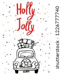 christmas hand drawn holiday... | Shutterstock .eps vector #1226777740