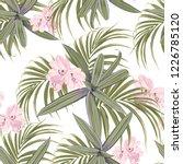 bright green tropical pattern.... | Shutterstock .eps vector #1226785120