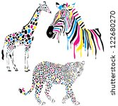 Stock vector wild animals vector set with giraffe zebra and leopard in cmyk concept style 122680270