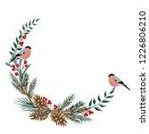 cute bullfinch  pine branch ... | Shutterstock .eps vector #1226806210