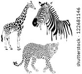 Stock vector vector set of black silhouette wild animals zebra leopard giraffe 122681146