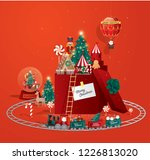christmas greetings  toy land... | Shutterstock .eps vector #1226813020