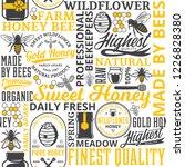 honey seamless pattern  logo... | Shutterstock .eps vector #1226828380