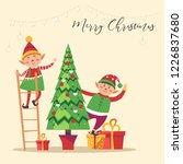 elves preparing christmas pine... | Shutterstock .eps vector #1226837680