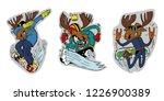 three elk lovers of winter... | Shutterstock .eps vector #1226900389
