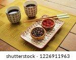asian type tea set on wood... | Shutterstock . vector #1226911963