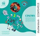 isometric cinema colorful... | Shutterstock .eps vector #1226914513