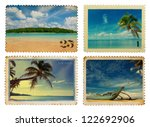 vintage postage stamps with... | Shutterstock . vector #122692906