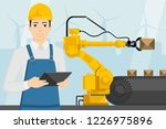 engineer with a digital tablet... | Shutterstock .eps vector #1226975896