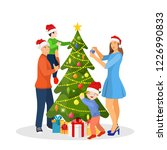 family decorating christmas... | Shutterstock .eps vector #1226990833