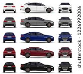 realistic car. sedan set. front ... | Shutterstock .eps vector #1226992006