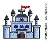 pixel art old castle detailed... | Shutterstock .eps vector #1227001870