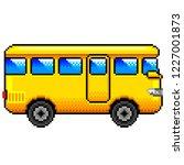 pixel art yellow bus detailed...   Shutterstock .eps vector #1227001873