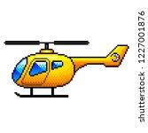 pixel art yellow helicopter...   Shutterstock .eps vector #1227001876