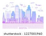 boston city line art vector... | Shutterstock .eps vector #1227001960