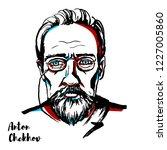 anton chekhov engraved vector... | Shutterstock .eps vector #1227005860