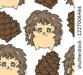 seamless pattern with hedgehog... | Shutterstock .eps vector #1227006466