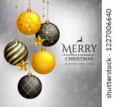 christmas card. xmas golden... | Shutterstock .eps vector #1227006640