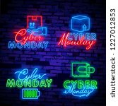 cyber monday neon sign  bright... | Shutterstock .eps vector #1227012853