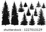 set of silhouettes of pine... | Shutterstock .eps vector #1227013129