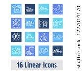 delivery icon set and forklift...   Shutterstock .eps vector #1227014170