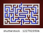 square maze with blue path to... | Shutterstock .eps vector #1227023506