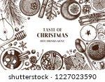 winter drink bar menu. hand... | Shutterstock .eps vector #1227023590