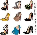 high heel fashion shoe woman... | Shutterstock .eps vector #1227029023