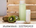 washing washing cosmetics. kiwi ... | Shutterstock . vector #1227041413