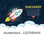 sketch of launch rocket. doodle ... | Shutterstock .eps vector #1227050419