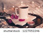 cup of tea staying on open book ... | Shutterstock . vector #1227052246