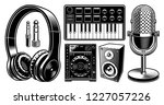 dj clipart. set of black and... | Shutterstock .eps vector #1227057226